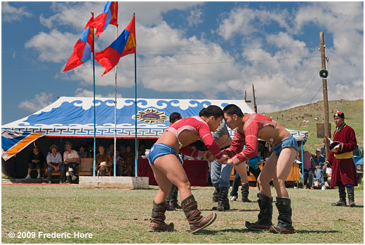 Wrestling match at Naadam Festival, Lun